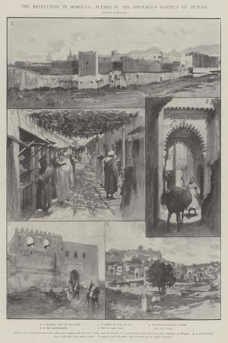 The Revolution in Morocco, Scenes in the Disturbed District of Tetuan-Amedee Forestier-Stretched Canvas Print