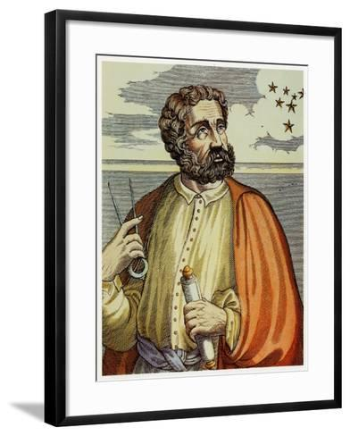Portrait of Ferdinand Magellan (1480 - 1521) with Navigational Instruments. (Colour Litho.)-Andre Thevet-Framed Art Print