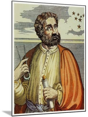 Portrait of Ferdinand Magellan (1480 - 1521) with Navigational Instruments. (Colour Litho.)-Andre Thevet-Mounted Giclee Print
