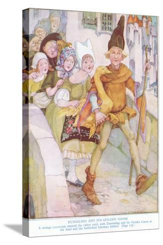 Dummling and His Golden Goose: a Strange Procession Entered the Palace Yard-Anne Anderson-Stretched Canvas Print