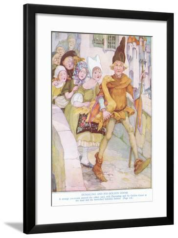 Dummling and His Golden Goose: a Strange Procession Entered the Palace Yard-Anne Anderson-Framed Art Print