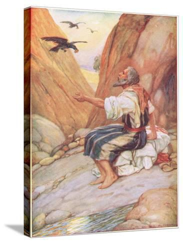 Elijah Fed by the Ravens-Arthur A^ Dixon-Stretched Canvas Print