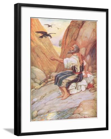 Elijah Fed by the Ravens-Arthur A^ Dixon-Framed Art Print