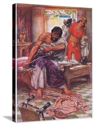 Samson Broke the Ropes That Bound Him-Arthur A^ Dixon-Stretched Canvas Print