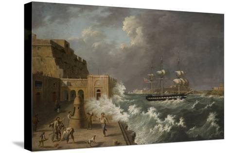 Harbour Scene, Malta-Anton Schranz-Stretched Canvas Print
