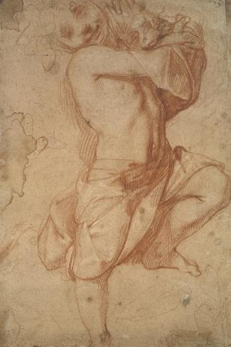 Semi-Nude Boy (Chalk on Paper)-Annibale Carracci-Stretched Canvas Print