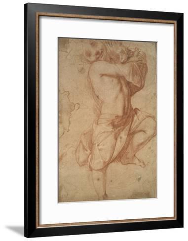 Semi-Nude Boy (Chalk on Paper)-Annibale Carracci-Framed Art Print