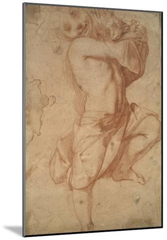 Semi-Nude Boy (Chalk on Paper)-Annibale Carracci-Mounted Giclee Print