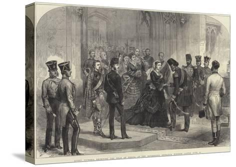 Queen Victoria Receiving the Shah of Persia at the Sovereign's Entrance, Windsor Castle, 20 June-Arthur Hopkins-Stretched Canvas Print
