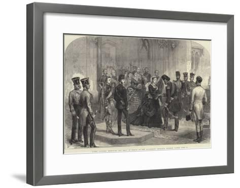 Queen Victoria Receiving the Shah of Persia at the Sovereign's Entrance, Windsor Castle, 20 June-Arthur Hopkins-Framed Art Print