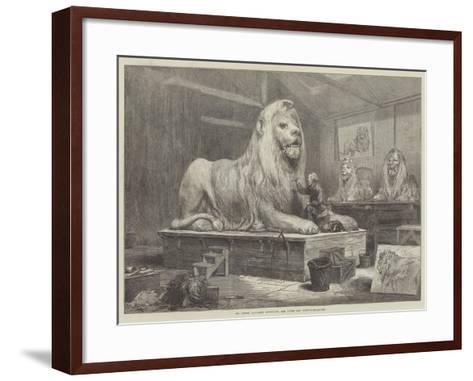 Sir Edwin Landseer Modelling the Lions for Trafalgar-Square-Arthur Hopkins-Framed Art Print