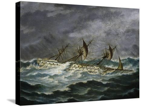 Re Galantuomo, Previously Monarca, Ship from Royal Navy of Kingdom of Two Sicilies-Antonio Gallizioli-Stretched Canvas Print