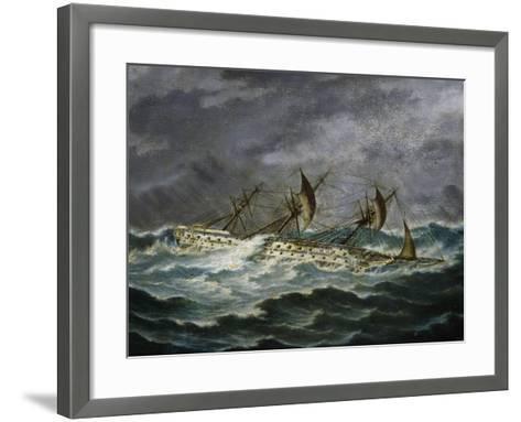 Re Galantuomo, Previously Monarca, Ship from Royal Navy of Kingdom of Two Sicilies-Antonio Gallizioli-Framed Art Print