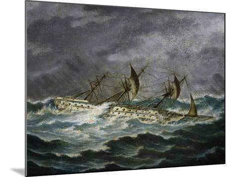 Re Galantuomo, Previously Monarca, Ship from Royal Navy of Kingdom of Two Sicilies-Antonio Gallizioli-Mounted Giclee Print