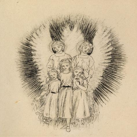 Three Little Children on the Wide Wide Earth (Pen and Black Ink on Off-White Paper)-Arthur Hughes-Stretched Canvas Print