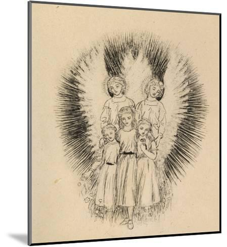 Three Little Children on the Wide Wide Earth (Pen and Black Ink on Off-White Paper)-Arthur Hughes-Mounted Giclee Print