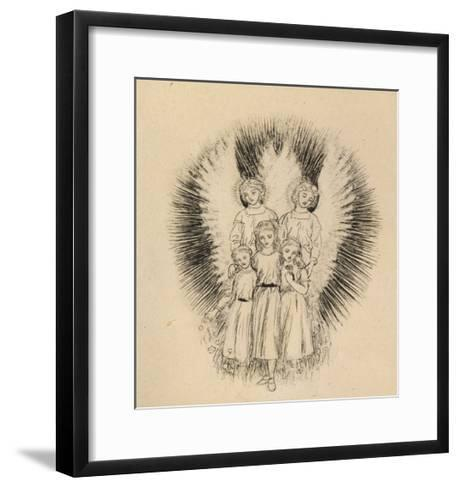 Three Little Children on the Wide Wide Earth (Pen and Black Ink on Off-White Paper)-Arthur Hughes-Framed Art Print