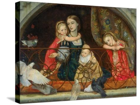 Mrs Leathart and Her Three Children, C.1863-65-Arthur Hughes-Stretched Canvas Print