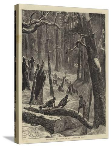 Shooting Turkeys in an American Forest-Arthur Boyd Houghton-Stretched Canvas Print