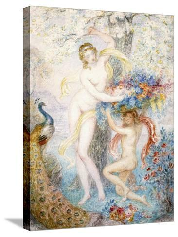 Untitled (Two Female Nudes under a Tree, with a Peacock), (W/C on Cream Wove Paper)-Armand Point-Stretched Canvas Print