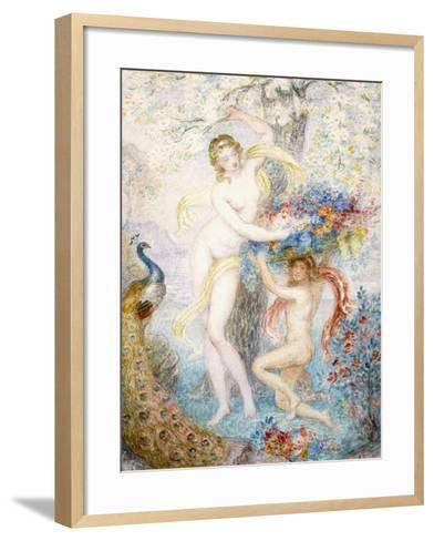 Untitled (Two Female Nudes under a Tree, with a Peacock), (W/C on Cream Wove Paper)-Armand Point-Framed Art Print