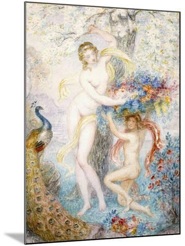 Untitled (Two Female Nudes under a Tree, with a Peacock), (W/C on Cream Wove Paper)-Armand Point-Mounted Giclee Print