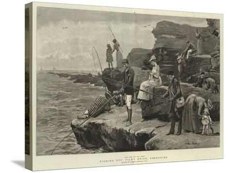 Fishing Off Filey Brigg, Yorkshire-Arthur Hopkins-Stretched Canvas Print