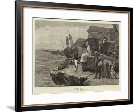 Fishing Off Filey Brigg, Yorkshire-Arthur Hopkins-Framed Art Print