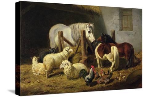Barnyard, 1860-Arthur Fitzwilliam Tait-Stretched Canvas Print