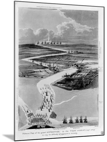 Pictural Plan of the Grand Expedition in the West Scheldt-Captain Cockburn-Mounted Giclee Print
