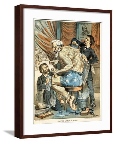Love's Labor's Lost Published in Puck Magazine, 1884 (Colour Chromolithograph)-Bernard Gillam-Framed Art Print