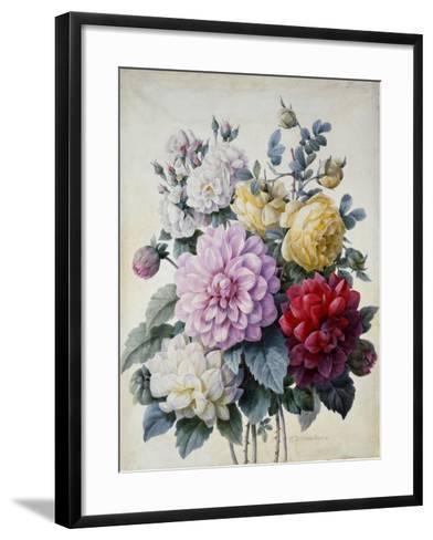 Bouquet of Flowers, Dahlias and Roses, Published C.1830-40 (Stipple Hand Coloured)-Camille de Chantereine-Framed Art Print