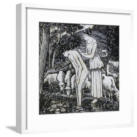 Chloë Washing Daphnis at a Stream-Camille Pissarro-Framed Art Print