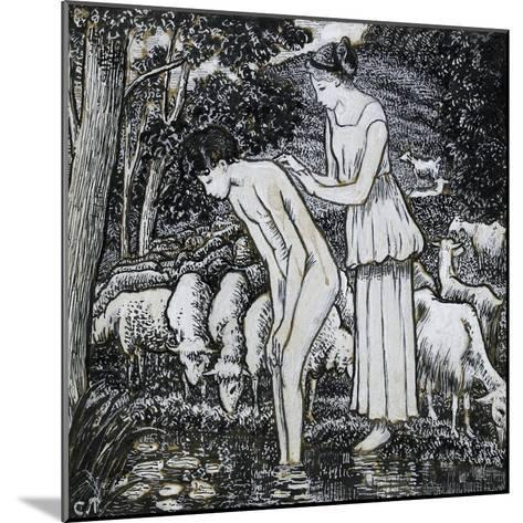 Chloë Washing Daphnis at a Stream-Camille Pissarro-Mounted Giclee Print