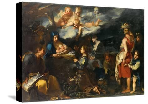 Adoration of the Child with Saint Luke, C.1700-Carlo Donelli-Stretched Canvas Print