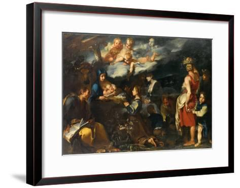 Adoration of the Child with Saint Luke, C.1700-Carlo Donelli-Framed Art Print