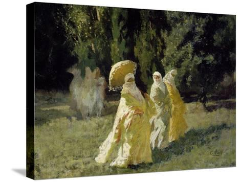 The Favorites in the Park, 1870-Cesare Biseo-Stretched Canvas Print