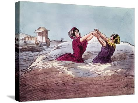 Bathing- Cham-Stretched Canvas Print