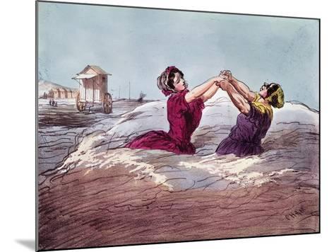 Bathing- Cham-Mounted Giclee Print