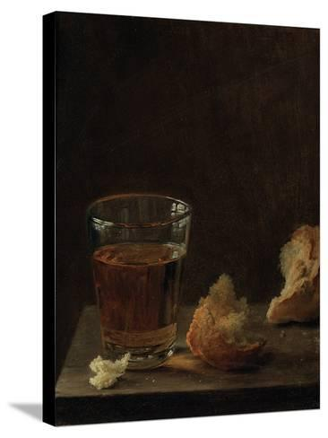 A Glass of Beer and a Bread Roll on a Table-Balthasar Denner-Stretched Canvas Print