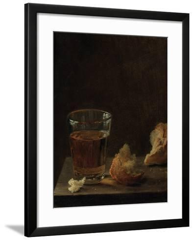 A Glass of Beer and a Bread Roll on a Table-Balthasar Denner-Framed Art Print