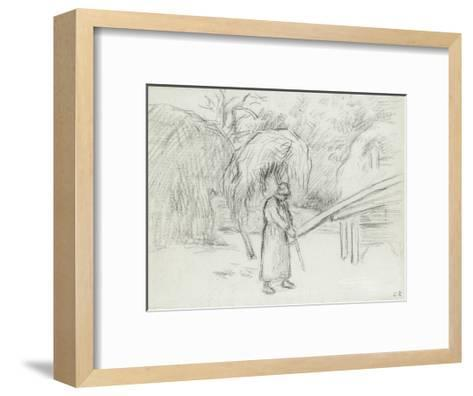 Study of a Female Peasant Carrying a Load of Hay in the Farmyard at Foucault, C. 1875-Camille Pissarro-Framed Art Print