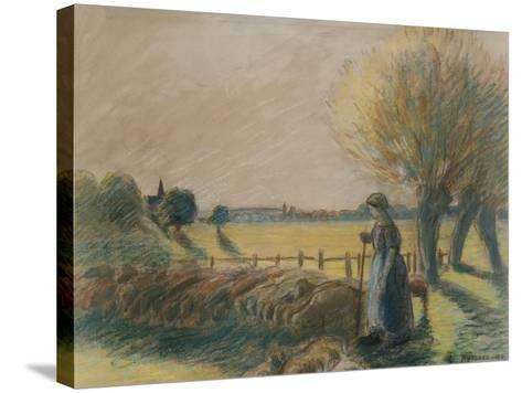 The Shepherdess of Eragny (Tempera and Pastel with Traces of Watercolour and Pencil on Grey Paper)-Camille Pissarro-Stretched Canvas Print