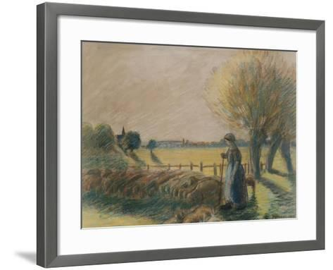 The Shepherdess of Eragny (Tempera and Pastel with Traces of Watercolour and Pencil on Grey Paper)-Camille Pissarro-Framed Art Print