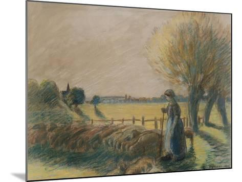 The Shepherdess of Eragny (Tempera and Pastel with Traces of Watercolour and Pencil on Grey Paper)-Camille Pissarro-Mounted Giclee Print