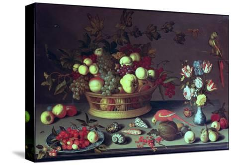 A Basket of Grapes and Other Fruit-Balthasar van der Ast-Stretched Canvas Print