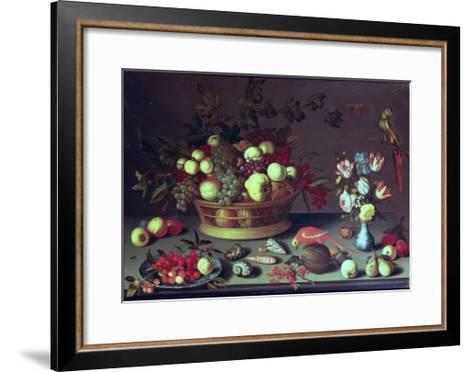 A Basket of Grapes and Other Fruit-Balthasar van der Ast-Framed Art Print