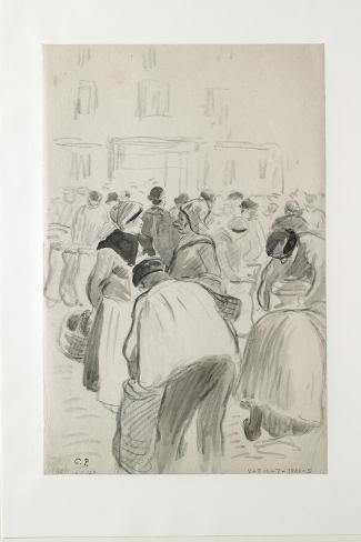 Compositional Study of the Market at Pontoise, 1881 (Black Chalk and Grey Washes)-Camille Pissarro-Stretched Canvas Print