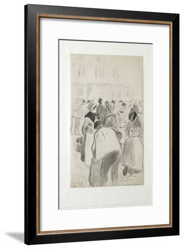 Compositional Study of the Market at Pontoise, 1881 (Black Chalk and Grey Washes)-Camille Pissarro-Framed Art Print