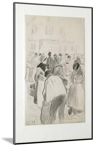 Compositional Study of the Market at Pontoise, 1881 (Black Chalk and Grey Washes)-Camille Pissarro-Mounted Giclee Print